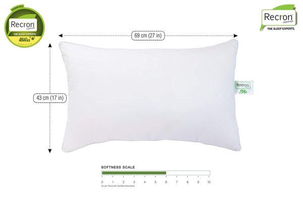 Recron Certified Bliss Fibre Pillow - 43 cm x 69 cm, White