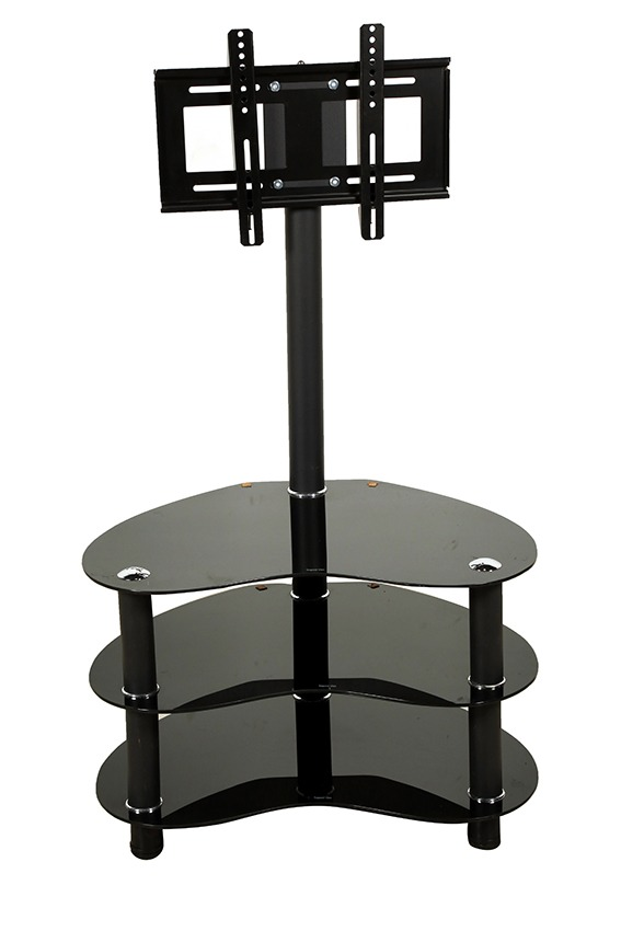 Smithie Import Mount & Three Oval Tempered Glass Shelves Tv Stand, Black