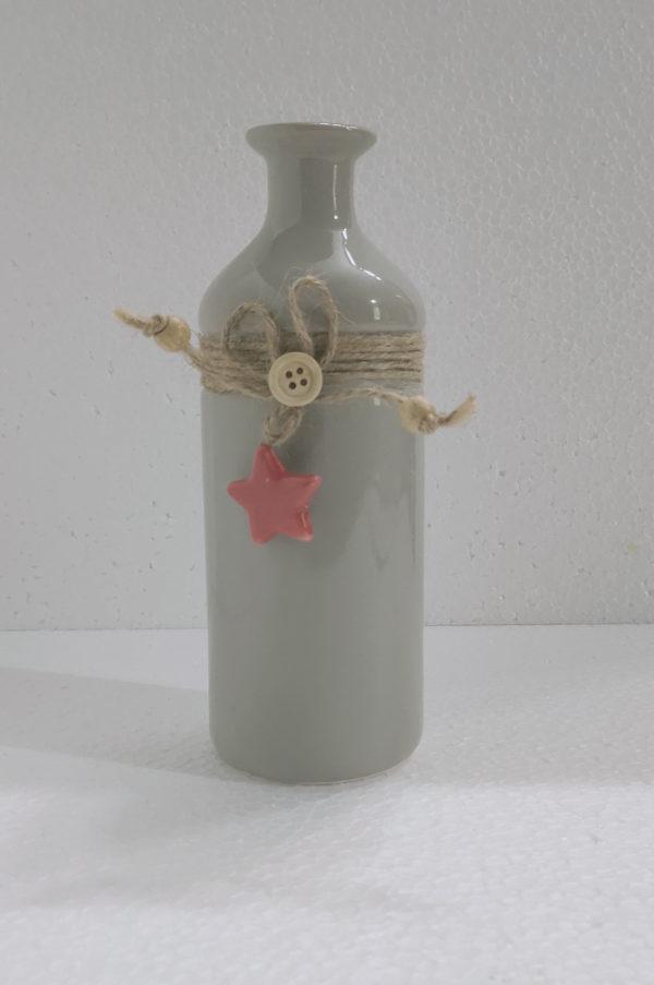 Sohrabi Cylindrical Grey Coloured Plant Vase