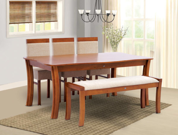 Dustin 6 Seater Teak Wood Dining Set With Bench(6*3.5ft)