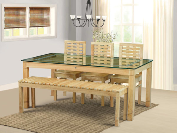 Elena 6 Seater Teak Wood Dining Set With Bench(5*3ft)