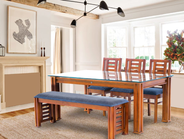 Blue Bell 6 Seater Teak Wood Dining Set With Bench(6*3.5)