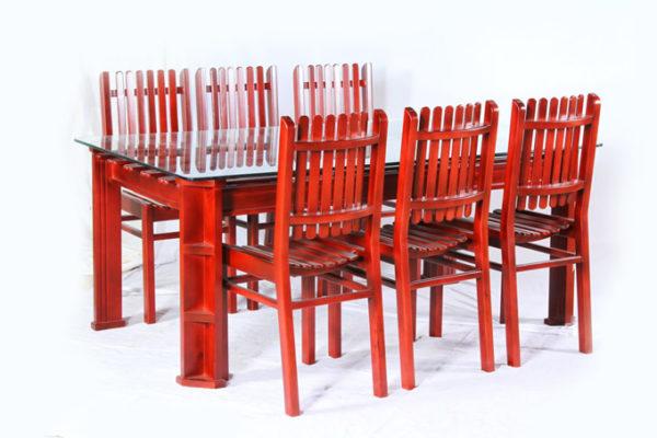 Bonnie 6 Seater Mahogany Wood Dining Set (5*3ft)