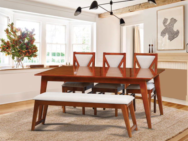 Stefan 6 Seater Mahogany Wood Dining Set With Bench(5*3ft)