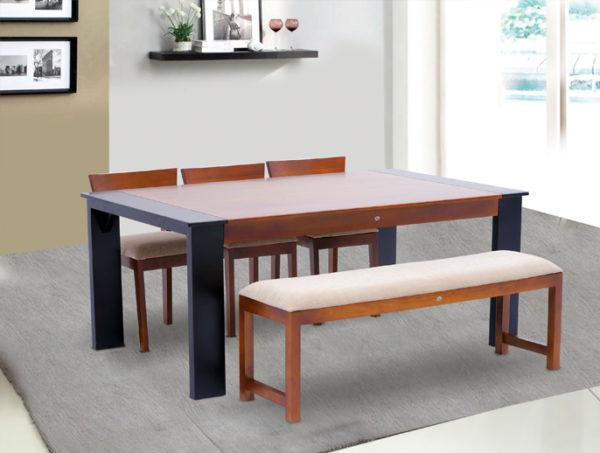 Damon 6 Seater Teak Wood Dining Set With Bench(6*3.5ft)