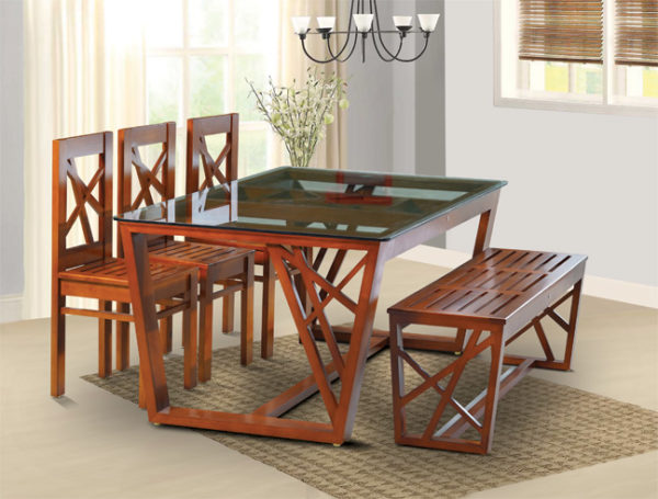 Leo 6 Seater Mahogany Wood Dining Set With Bench (5*3ft)