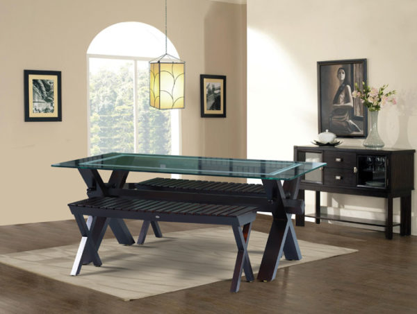Draco 6 Seater Mahogany Wood Dining Set With Bench(5*3ft)
