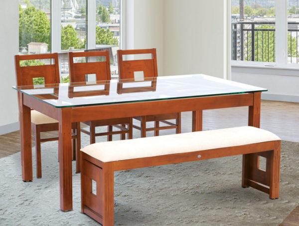 Ragnar 6 Seater Teak Wood Dining Set With Bench(5*3ft)
